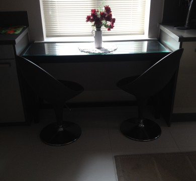 Black Table with Glass Top